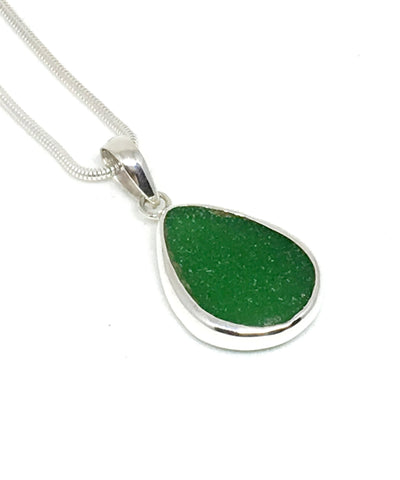 Dark Green Sea Glass Single Pendant on Silver Chain