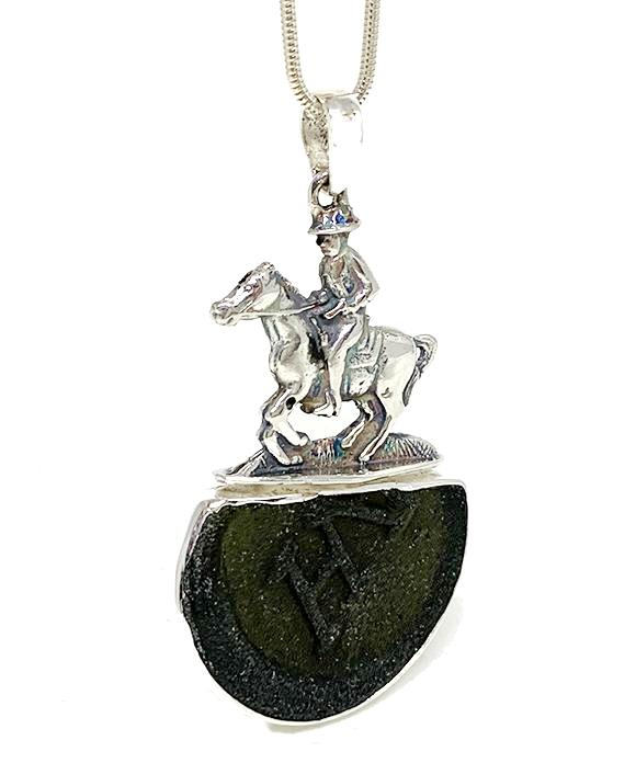 Large Horse & Rider Cast Toy with Textured Dark Olive Sea Glass Pendant on Silver Chain