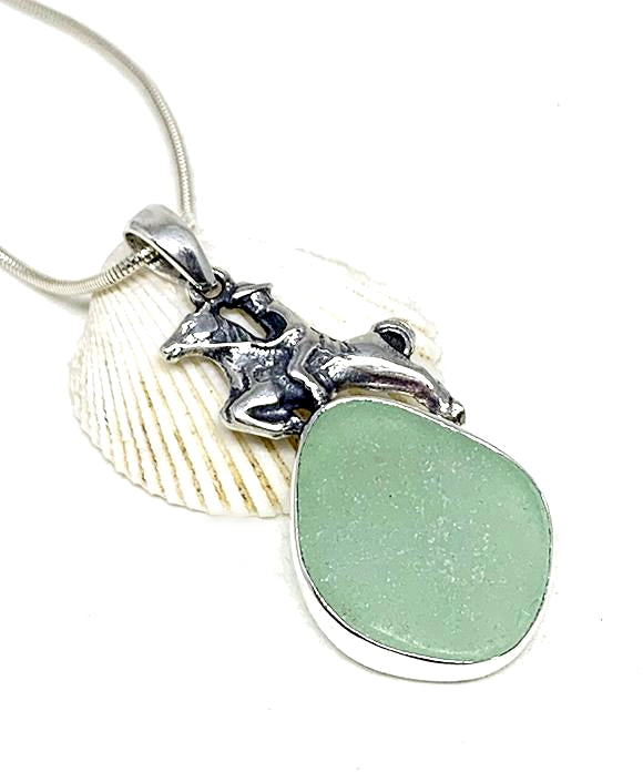Horse & Rider Cast Toy with Aqua Sea Glass Pendant on Silver Chain