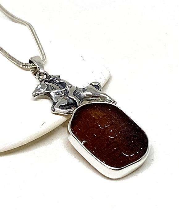 Horse & Rider Cast Toy with Textured Brown Sea Glass Pendant on Silver Chain