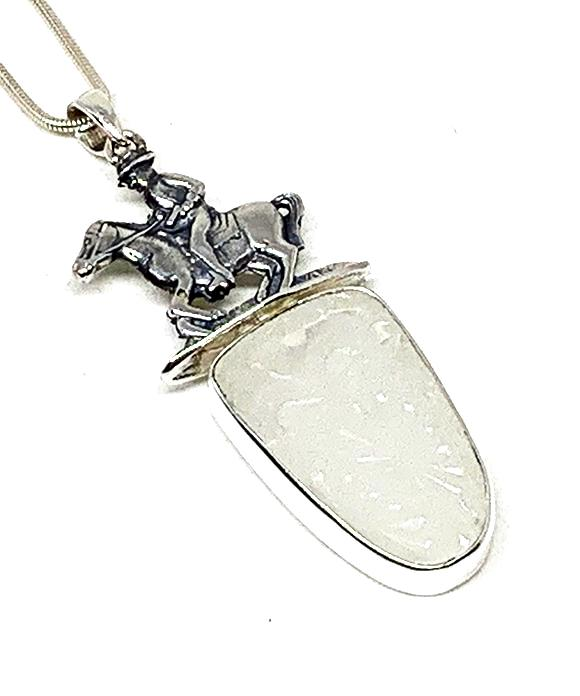 Large Horse & Rider Cast Toy with Textured Clear Sea Glass Pendant on Silver Chain