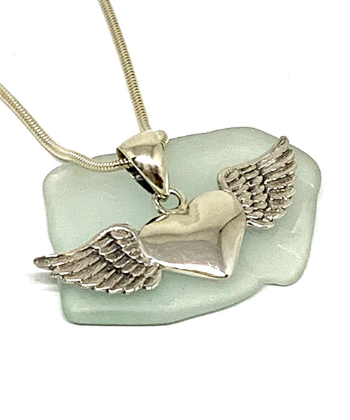 Sterling Silver Heart with Wings Pendant on Sterling Silver Chain