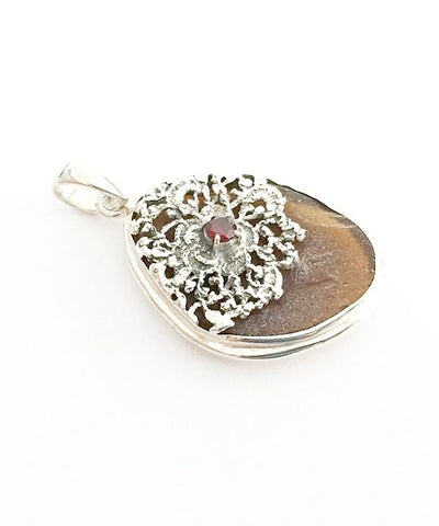 Antique Sterling Lace & Brown Textured Sea Glass with Garnet Pendant