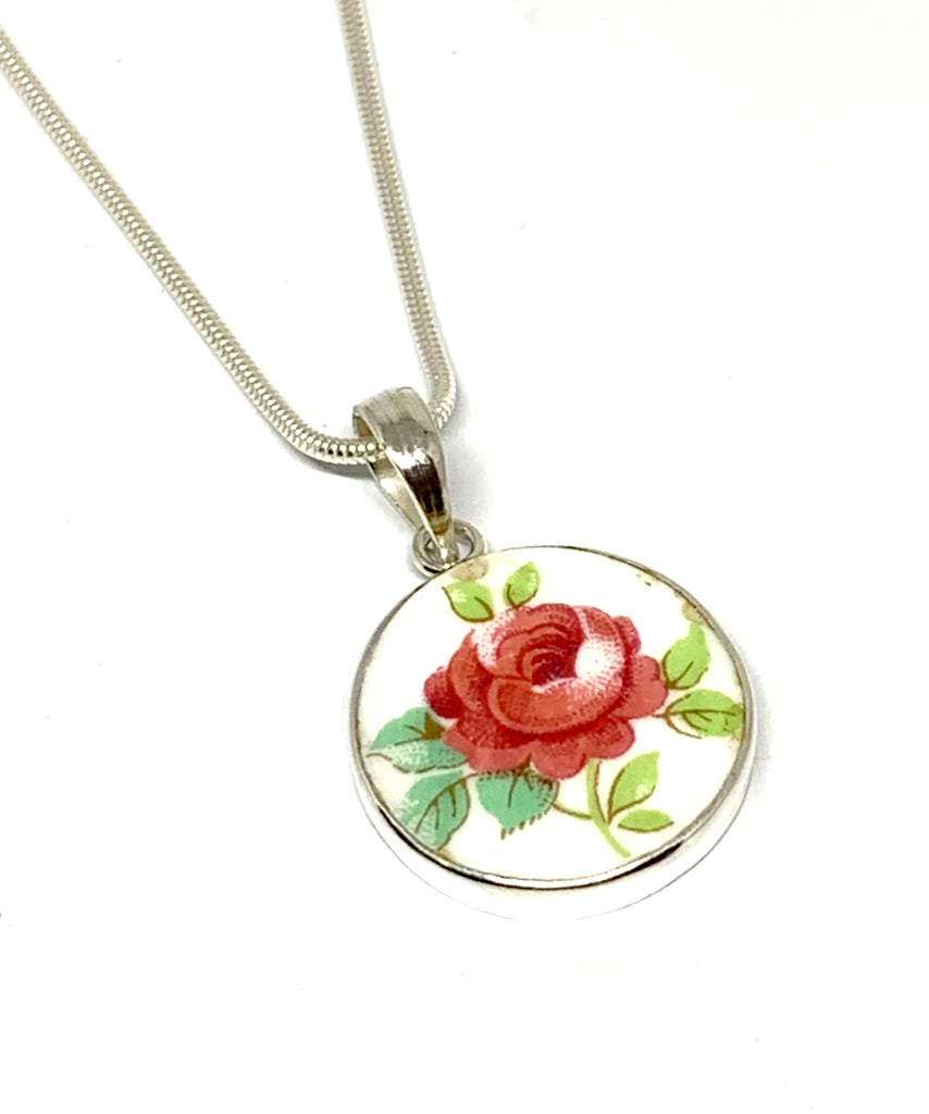 Round Rose Vintage Pottery Pendant