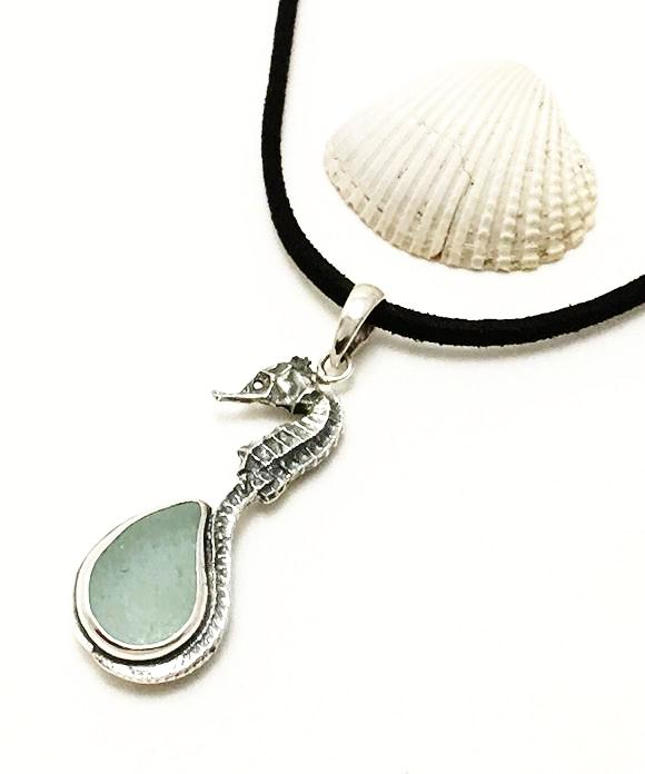 Real Cast Small Sea Horse and Coke Bottle Blue Sea Glass Pendant on Suede Cord