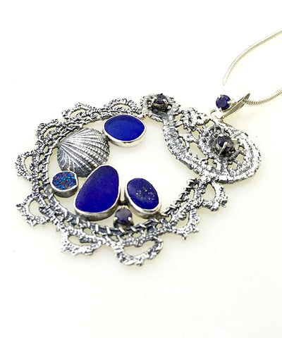 Cast Lace, Shell, Cobalt Sea Glass, Lapis and Stones Pendant
