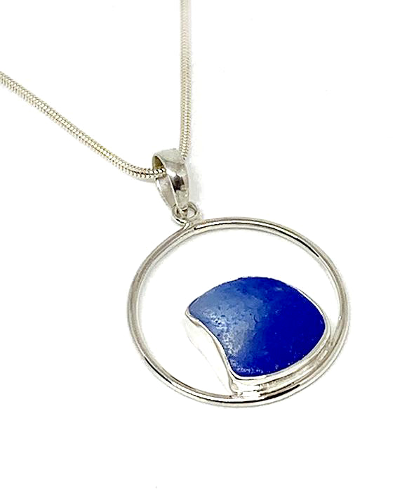 Melded Cobalt Blue & Clear Sea Glass Hoop Pendant on Silver Chain