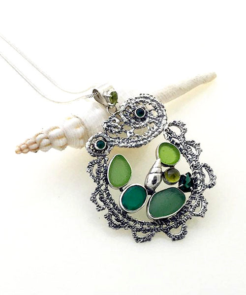 Cast Lace, Shell, Green Sea Glass and Peridot Stones Pendant
