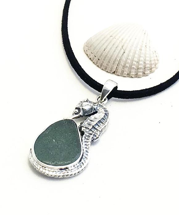 Large Sea Horse and Gray Sea Glass Pendant on Suede Cord