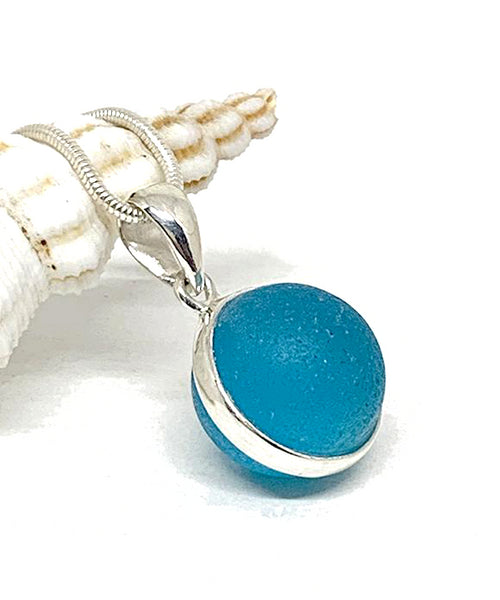 Bright Aqua Sea Glass Marble Pendant on Silver Chain