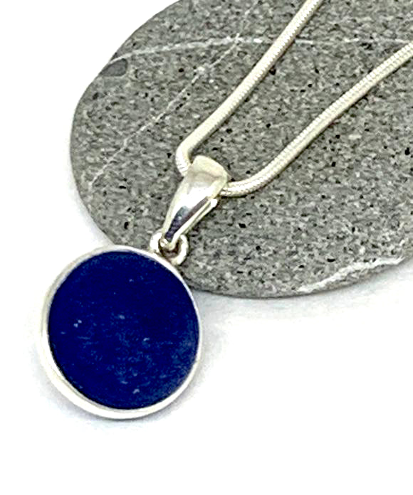 Cobalt Blue Sea Glass Marble Pendant on Silver Chain