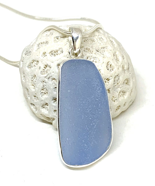Large Light Blue Sea Glass Pendant on Silver Chain