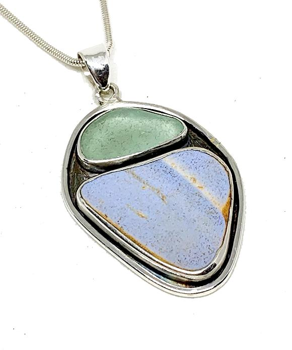 Aqua Sea Glass & Textured Periwinkle Blue Sea Pottery Silver Framed Pendant on Silver Chain