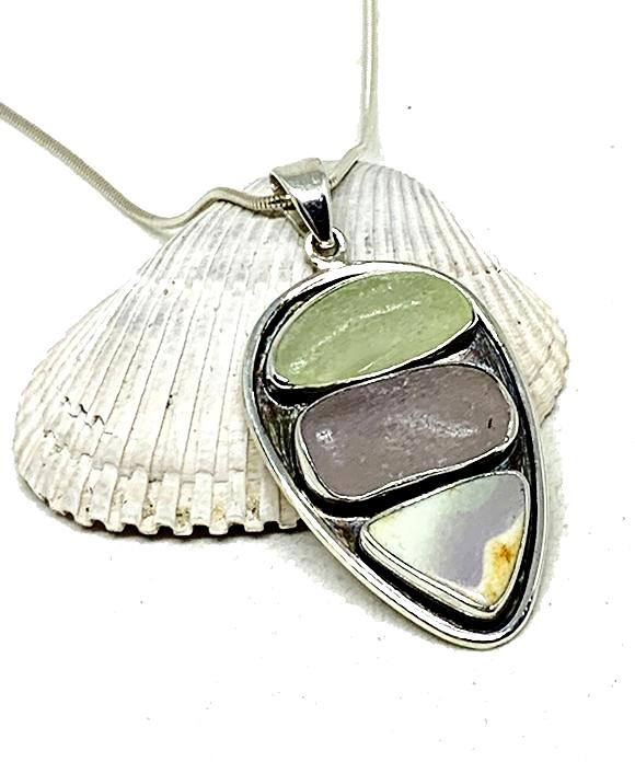 Rare Pale Yellow, Purple Depression Sea Glass & Textured Purple Sea Pottery Silver Framed Pendant on Silver Chain