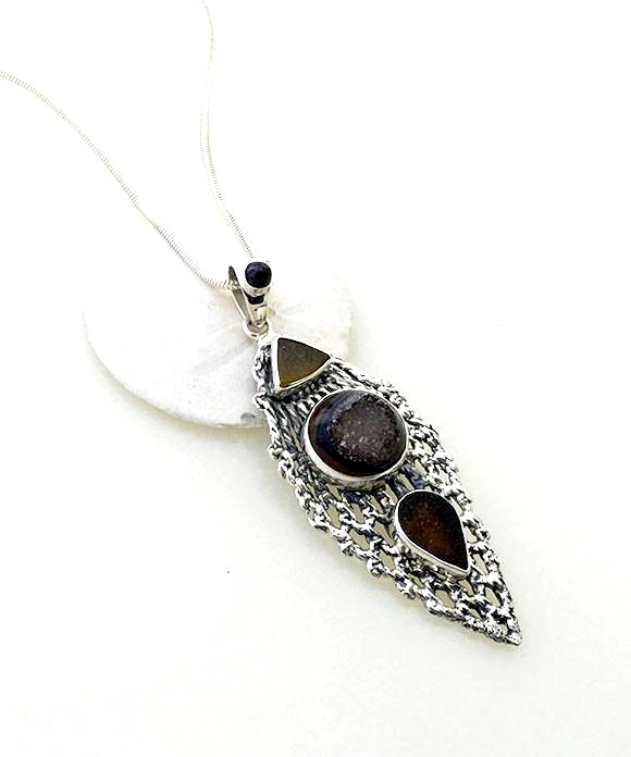 Antique Sterling Lace Wing with Amber and Brown Sea Glass and Geode Pendant on Sterling Chain