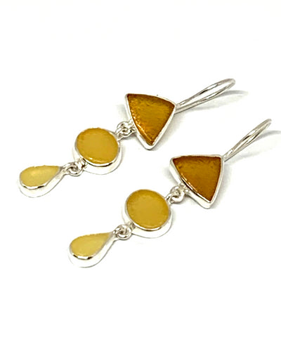 Shades Of Amber Sea Glass Triple Drop Earrings