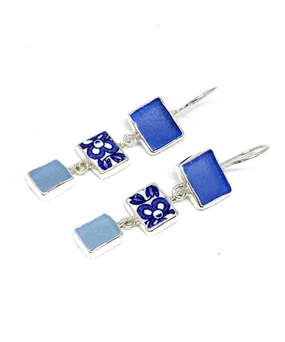 Cobalt & Aqua Sea Glass & Blue Floral Vintage Pottery Triple Drop Earrings