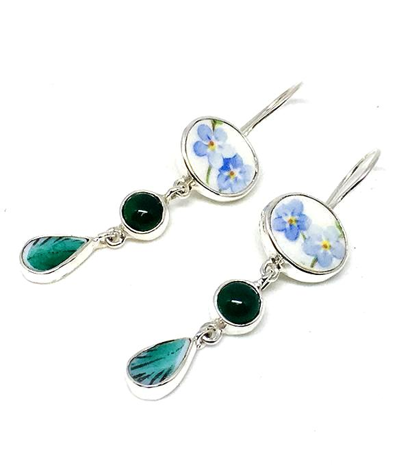Blue Floral Vintage Pottery with Green Agate Triple Drop Earrings