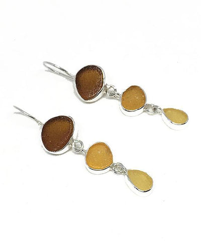 Brown, Light Grey and Amber Sea Glass Triple Drop Earrings