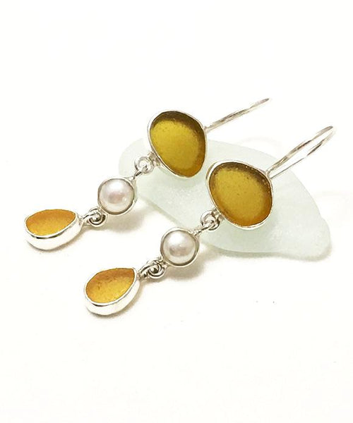 Brown and Amber Sea Glass with White Pearl Triple Drop Earrings
