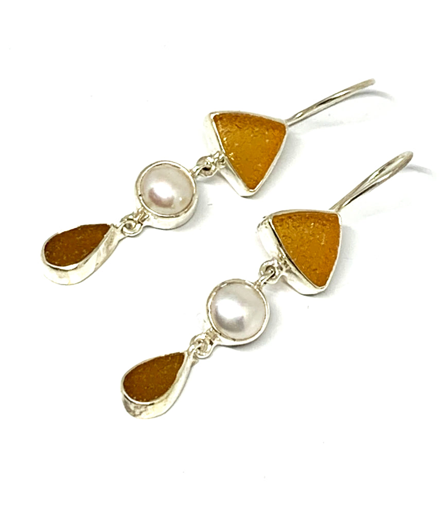 Brown and Amber Sea Glass with Square Pearl Triple Drop Earrings