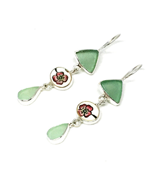 Soft Green Sea Glass & Cherry Blossom Vintage Pottery Triple Drop Earrings