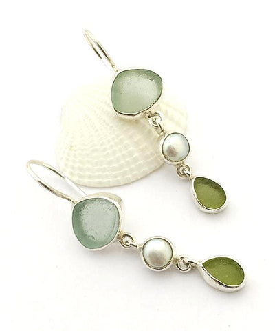 Coke Blue and Olive Sea Glass with White Pearl Triple Drop Earrings