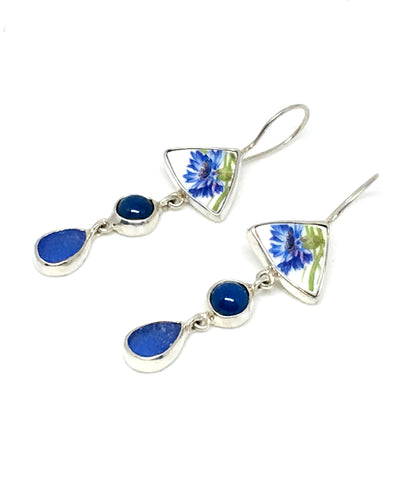 Blue Floral Vintage Pottery with Blue Agate and Sea Glass Triple Drop Earrings