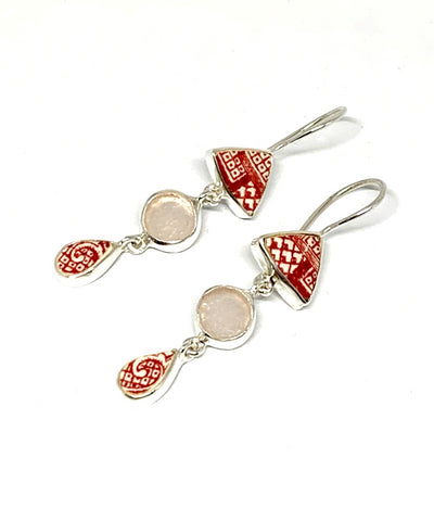 Red & White Vintage Pottery & Pink Sea Glass Triple Drop Earrings