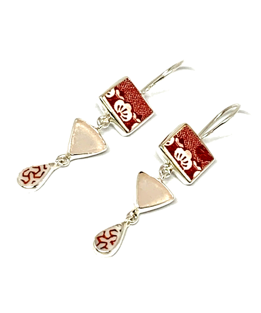 Red & White Patterned Vintage Pottery & Pink Sea Glass Triple Drop Earrings