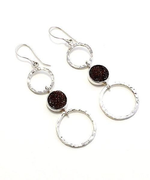 Brown Geode Triple Drop Hoop Earrings