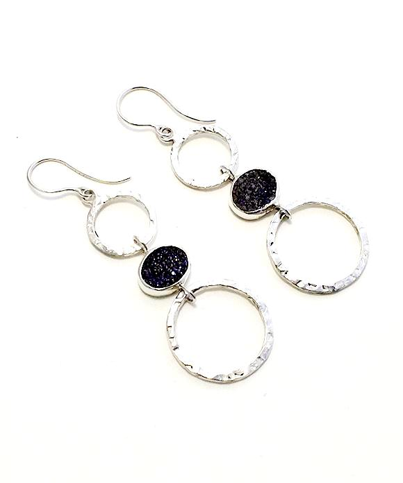 Purple Geode Triple Drop Hoop Earrings