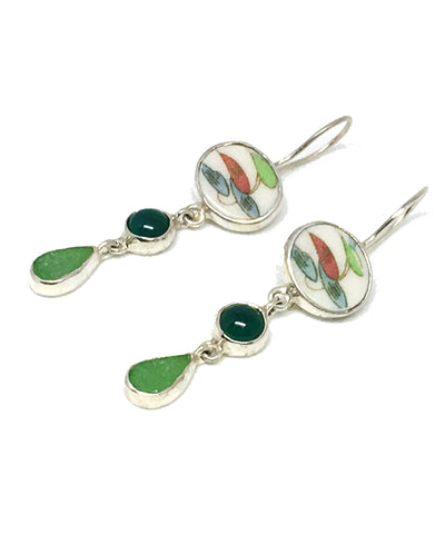 Green & Aqua Sea Glass with Green Agate Triple Drop Earrings