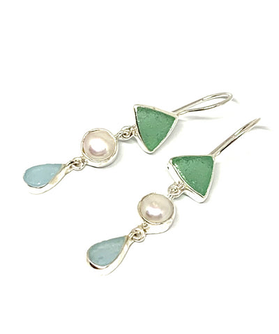 Green & Aqua Sea Glass with Pearl Triple Drop Earrings