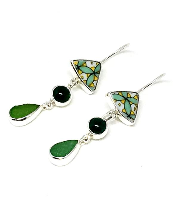 Bold Green Vintage Pottery & Green Sea Glass with Green Agate Triple Drop Earrings