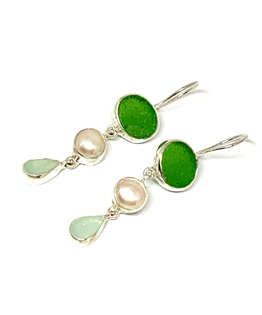 Green & Light Aqua Sea Glass with Pearl Triple Drop Earrings