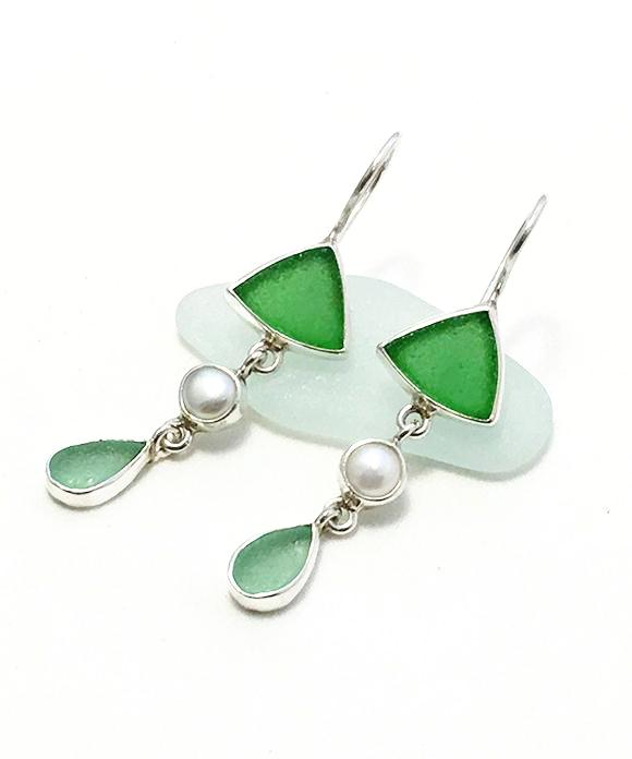 Green and Aqua Sea Glass with White Pearl Triple Drop Earrings