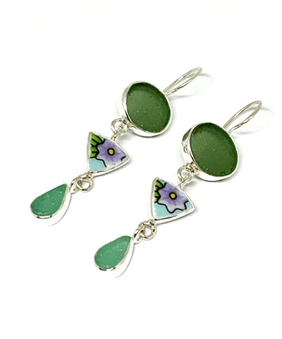Dark Olive & Turquoise Sea Glass with Bold Floral Vintage Pottery Triple Drop Earrings