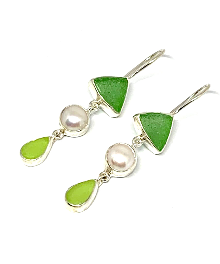 Green & Light Green Sea Glass with Pearl Triple Drop Earrings