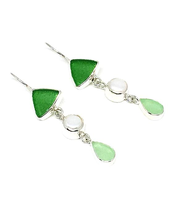 Green and Light Green Sea Glass with White Pearl Triple Drop Earrings