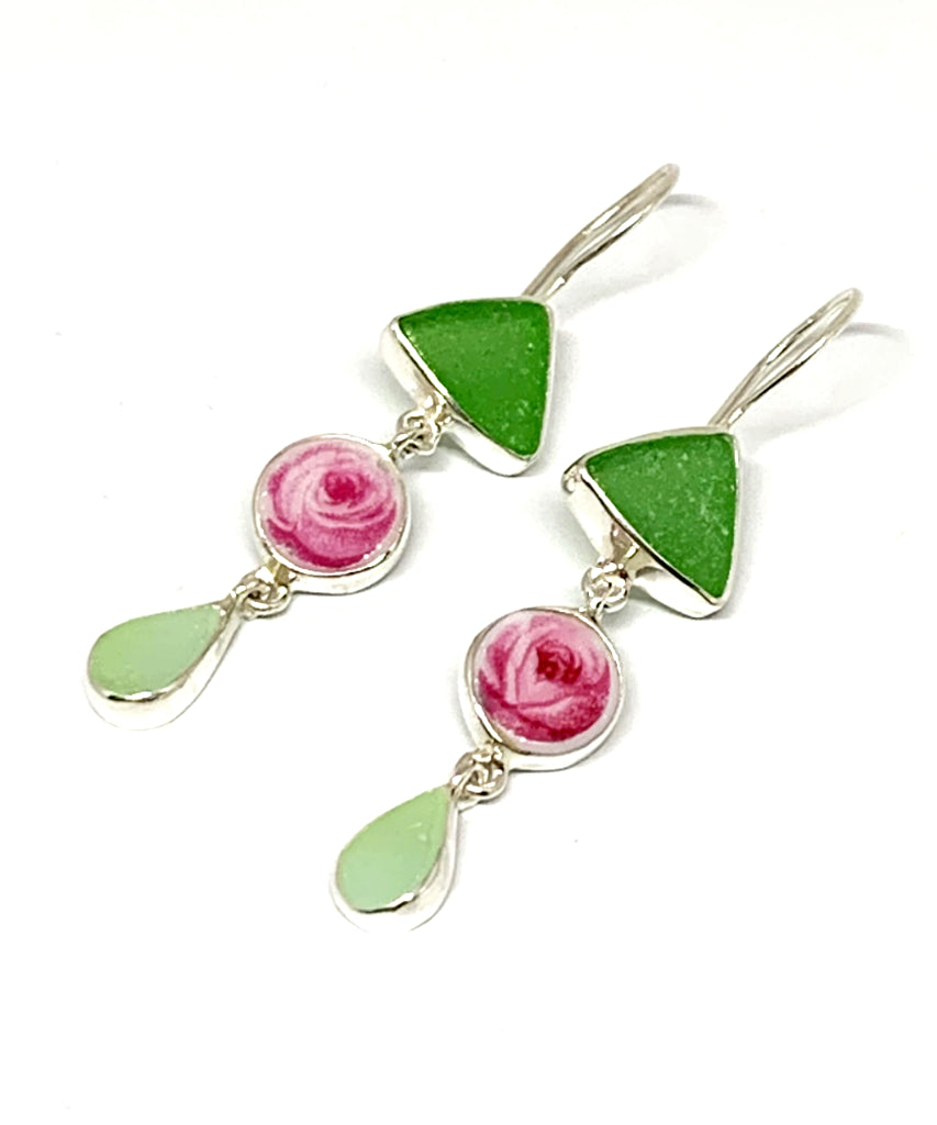 Green and Aqua Sea Glass with Pink Rose Vintage Pottery Triple Drop Earrings