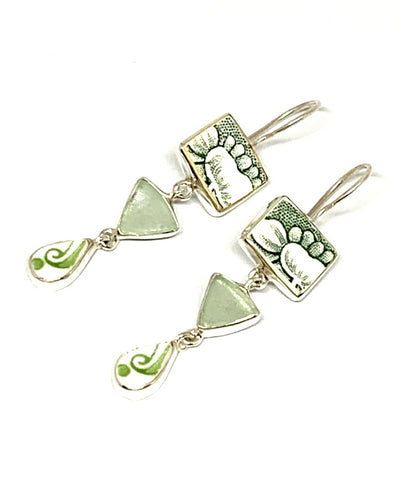 Green & White Flower Vintage Pottery Pieces with Soft Aqua Sea Glass Triple Drop Earrings