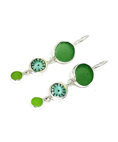Green Sea Glass & Bold Vintage Pottery Triple Drop Earrings
