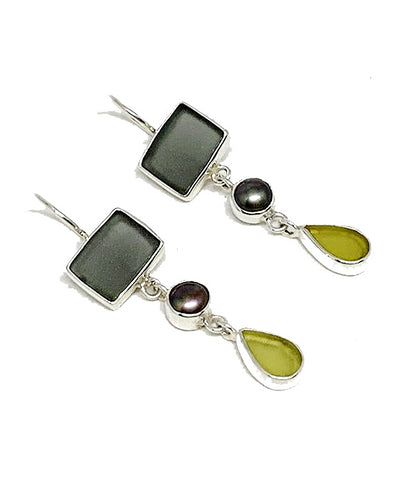 Grey & Yellow Sea Glass with Black Pearl Triple Drop Earrings