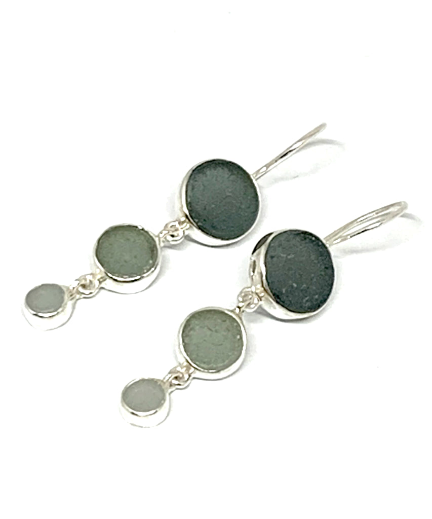 Shades of Gray Round Shape Sea Glass Triple Drop Earrings
