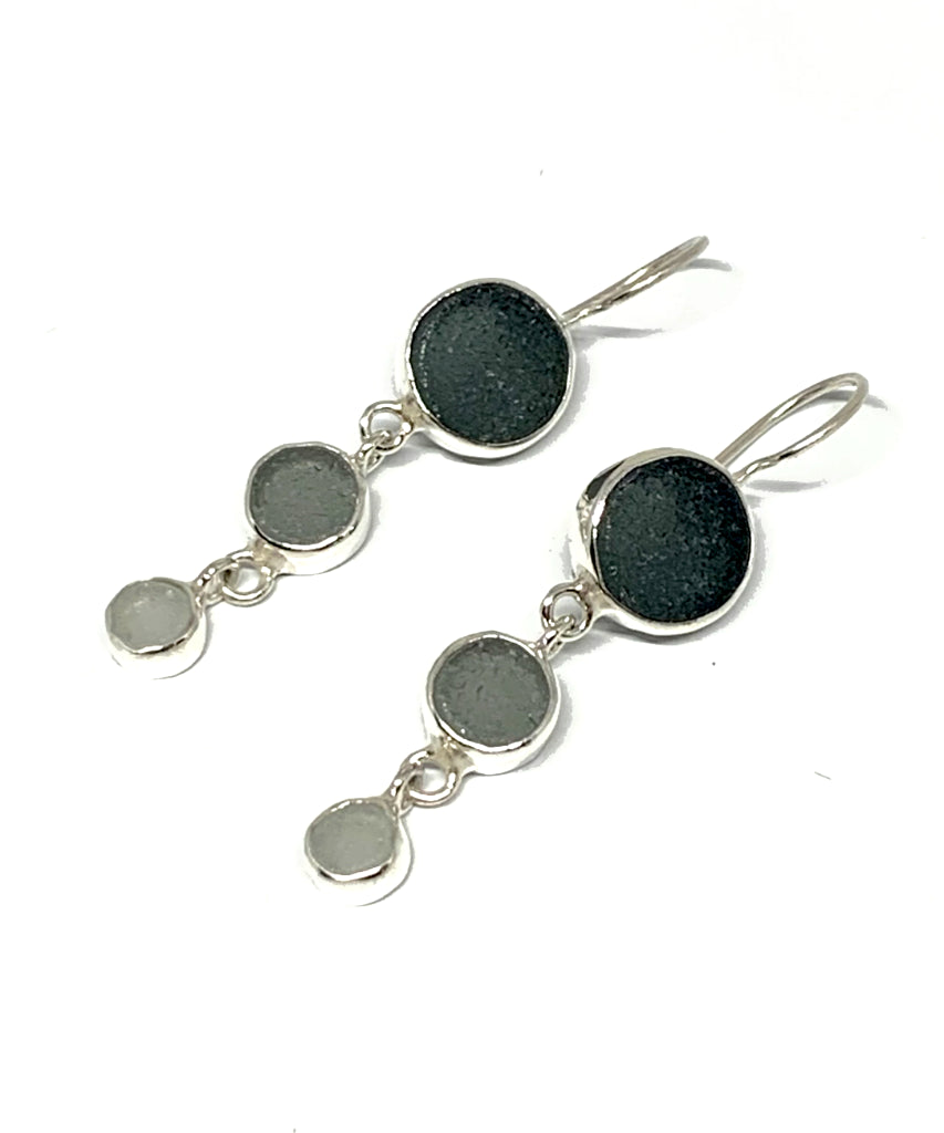 Shades of Gray Round Sea Glass Triple Drop Earrings