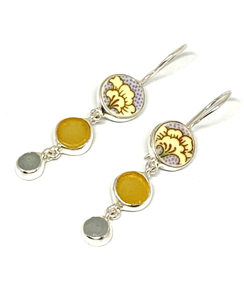 Yellow & Grey Flower Vintage Pottery Pieces with Amber Sea Glass Triple Drop Earrings