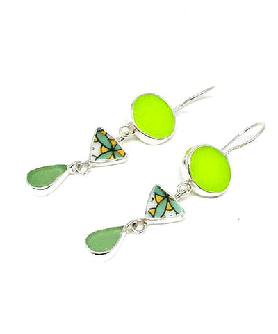 Lime Stained Glass, Bold Vintage Pottery & Green Sea Glass Triple Drop Earrings