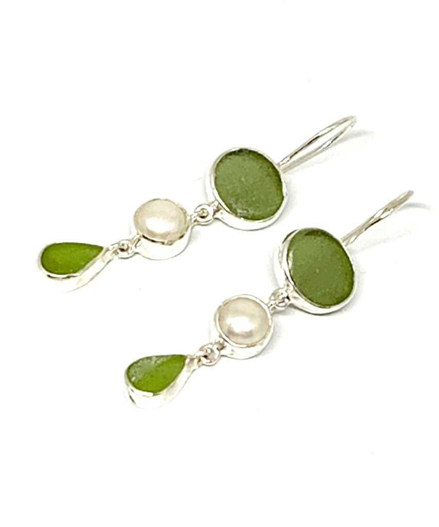 Olive & Lime Green Sea Glass with Pearl Triple Drop Earrings