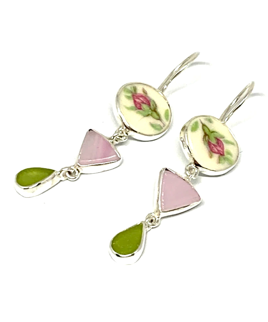 Pink Rose Vintage Pottery with Pink Stained Glass & Olive Sea Glass Triple Drop Earrings
